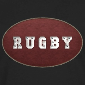 Rugby Leather Riveted T-Shirt - Men's Premium Long Sleeve T-Shirt