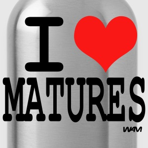 Black i love matures by wam T-Shirts - Water Bottle