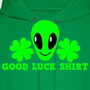 Kelly green Good luck shirt with alien cute ! St Patricks Day T-Shirts - Men's Hoodie