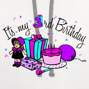 White Its my 3rd Birthday-Girl Toddler Shirts - Contrast Hoodie