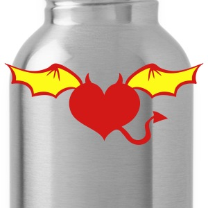Gold love heart devil wings horns tattoo T-Shirts - Water Bottle