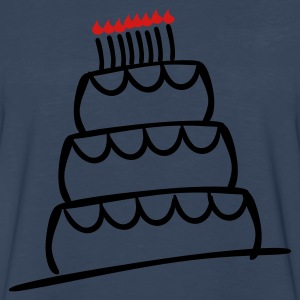 Navy Funky 3-Layer Birthday Cake With Candles And Flames  Plus Size - Men's Premium Long Sleeve T-Shirt