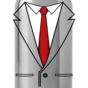 Business Suit with Red Tie - Water Bottle