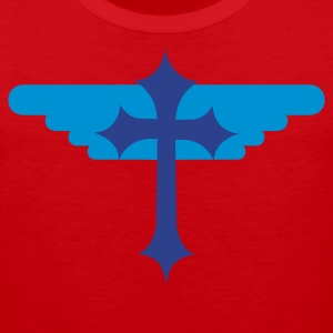 Red gothic cross with angel wings symbol T-Shirts - Men's Premium Tank