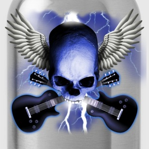 Black skull_and_wings_and_guitars T-Shirts - Water Bottle