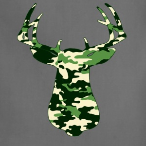 BUCK IN GREEN CAMO - VECTOR GRAPHIC T-Shirts - Adjustable Apron