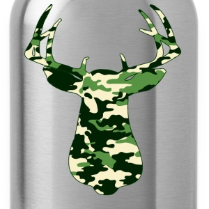 BUCK IN GREEN CAMO - VECTOR GRAPHIC T-Shirts - Water Bottle