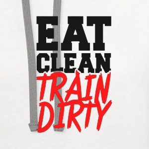 Eat Clean, TRAIN DIRTY! Tank Tops - Contrast Hoodie