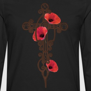 Black Iron Cross Rusty With Red Poppies T-Shirts - Men's Premium Long Sleeve T-Shirt
