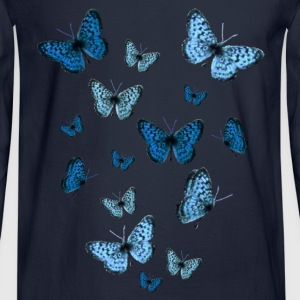 Navy Blue Butterflies Sweatshirts - Men's Long Sleeve T-Shirt