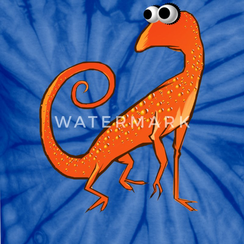 Goofy Orange Lizard - Unisex Tie Dye T-Shirt