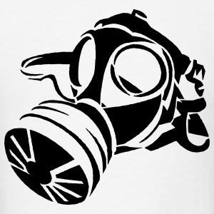 White Gas Mask Stencil Hoodies - Men's T-Shirt