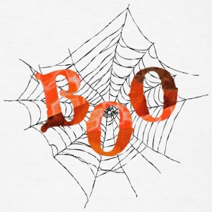 White BOO in Spider Web Long Sleeve Shirts - Men's T-Shirt