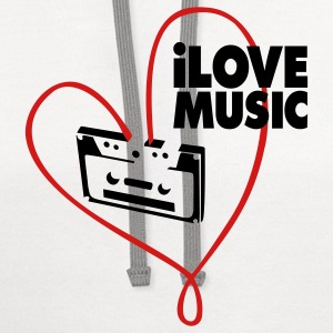 White i_love_music Women's T-Shirts - Contrast Hoodie
