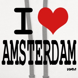 White i love amsterdam by wam Women's T-Shirts - Contrast Hoodie