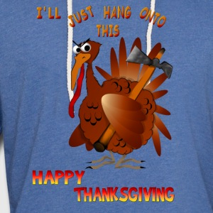 Turkey With An Ax - Unisex Lightweight Terry Hoodie