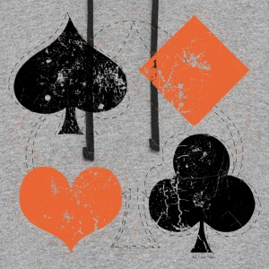 Gray vintage poker playing cards Women's T-Shirts - Colorblock Hoodie