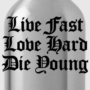 Black live fast love hard T-Shirts - Water Bottle