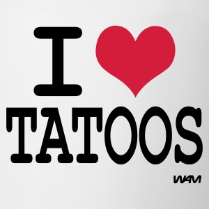 White/black i love tatoos by wam T-Shirts - Coffee/Tea Mug