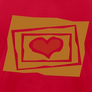 Red Heart In 3 Jagged Frames, Cutouts, 2 Color Long Sleeve Shirts - Men's T-Shirt by American Apparel