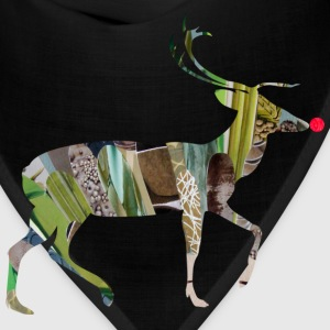 Khaki collage art REINDEER T-Shirts - Bandana