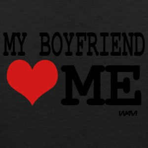 Black my boyfriend loves me by wam Hoodies - Men's Premium Tank