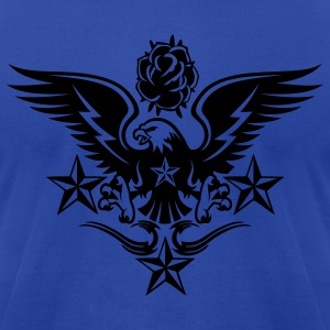 Royal blue Eagle,Rose,and Nautical Star Lightning Tattoo Hoodies - Men's T-Shirt by American Apparel