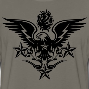 Gold Eagle,Rose,and Nautical Star Lightning Tattoo T-Shirts - Men's Premium Long Sleeve T-Shirt