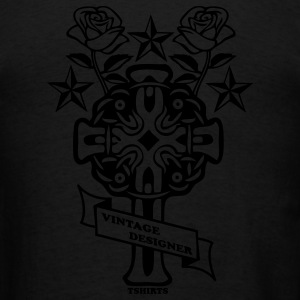 Black tattoo rose cross and nautical star Zip Hoodies/Jackets - Men's T-Shirt