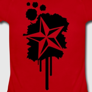 Red Nautical Star Graffiti Paint Splatter Kids' Shirts - Short Sleeve Baby Bodysuit