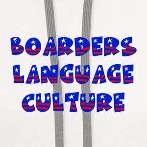 White Boarders Language Culture Buttons - Contrast Hoodie