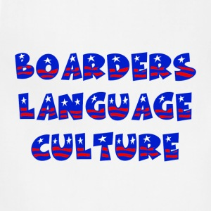 White Boarders Language Culture Buttons - Adjustable Apron