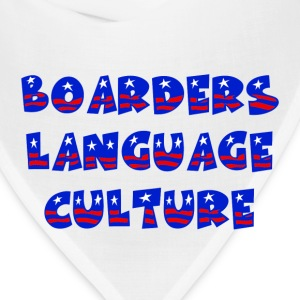 White Boarders Language Culture Buttons - Bandana