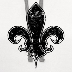 White fleur de lis destroyed Long Sleeve Shirts - Contrast Hoodie