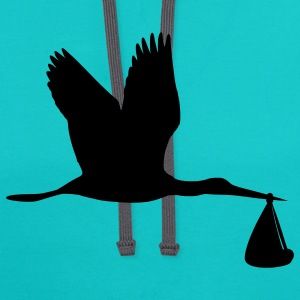 Turquoise Stork T-Shirts - Contrast Hoodie