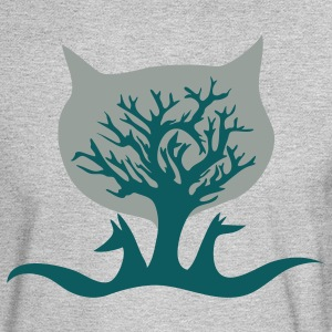 Heather grey vector tree with cat and dog wolf Women's T-Shirts - Men's Long Sleeve T-Shirt