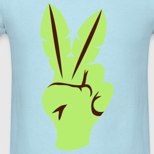 Powder blue peace sign fingers palm leaves Baby Body - Men's T-Shirt