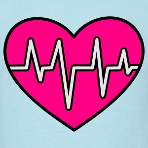 Powder blue love heart with heartbeat flatline Baby Body - Men's T-Shirt