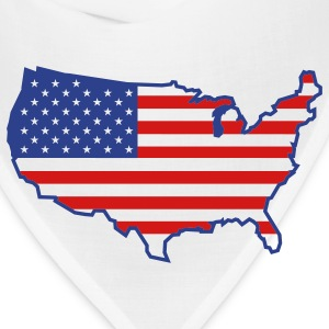 White Flag USA Map T-Shirts - Bandana