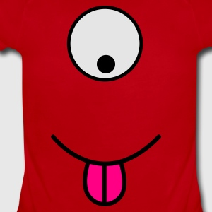 Red alien single eye with tongue Kids' Shirts - Short Sleeve Baby Bodysuit
