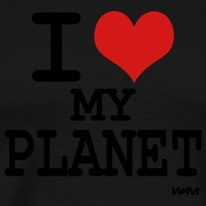 Black i love my planet by wam Long Sleeve Shirts - Men's Premium T-Shirt