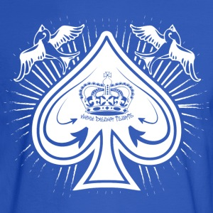 Royal blue Destroyed Card Spades and Birds Logo T-Shirts - Men's Long Sleeve T-Shirt