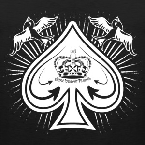 Black/white Destroyed Card Spades and Birds Logo T-Shirts - Men's Premium Tank