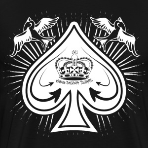 Black Destroyed Card Spades and Birds Logo Long Sleeve Shirts - Men's Premium T-Shirt