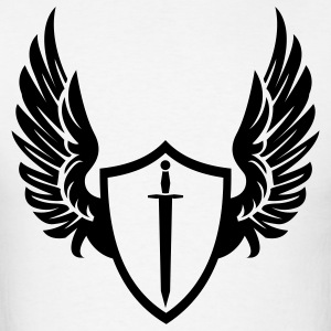 White Cool warrior shield with wings Hoodies - Men's T-Shirt