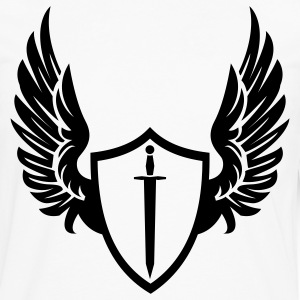 White Cool warrior shield with wings Hoodies - Men's Premium Long Sleeve T-Shirt