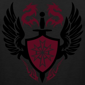 Black warrior shield and dragon crest T-Shirts - Men's Premium Tank
