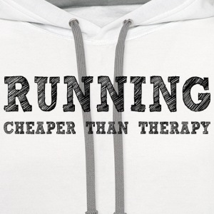 White Running Cheaper Than Therapy Women's T-Shirts - Contrast Hoodie