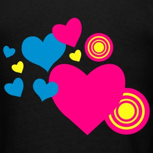 Black love hearts and targets Bags  - Men's T-Shirt
