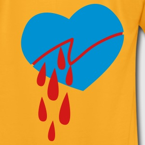 Creme bleeding love heart cut into two Bags  - Men's T-Shirt by American Apparel